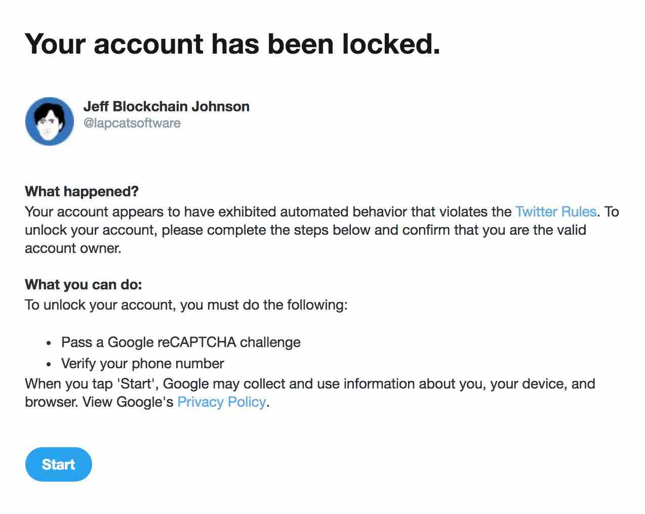 My Twitter account has been locked